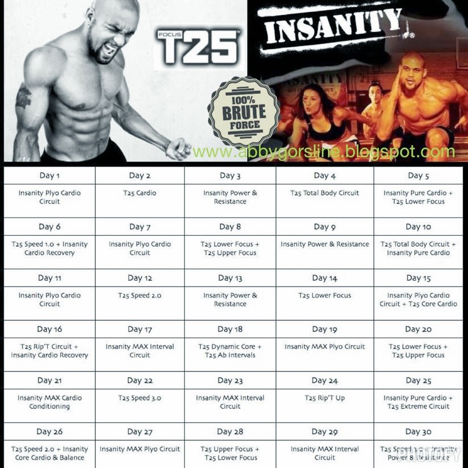 Dedicated Fitness Fanatic: T25/Insanity Hybrid Challenge --- Week 1 ...