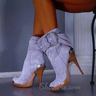 Cool Show Suede Side Buckle High Heel Boots