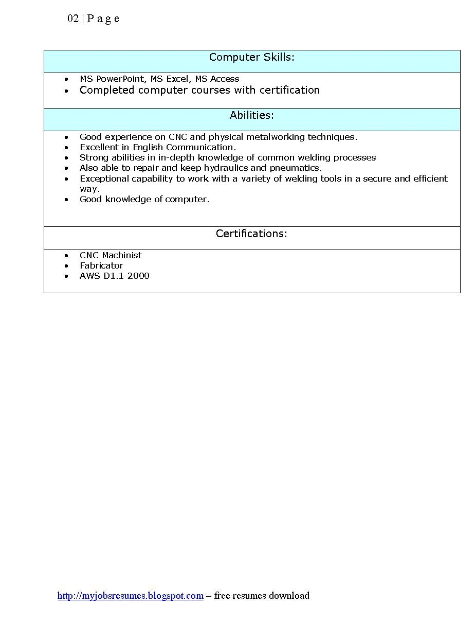 Resume Template For Welder   Page 2