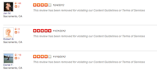 Jennifer, Robert, and Daniel wrote 4 or 5 star reviews on Keep It Clean's behalf, violating Yelp's terms of services