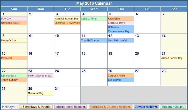 May 2016 Calendar with US Holidays Free, May 2016 Printable Calendar ...