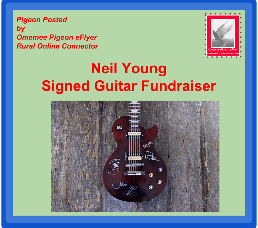 image Omemee News: Neil Young Signs Charity Guitar