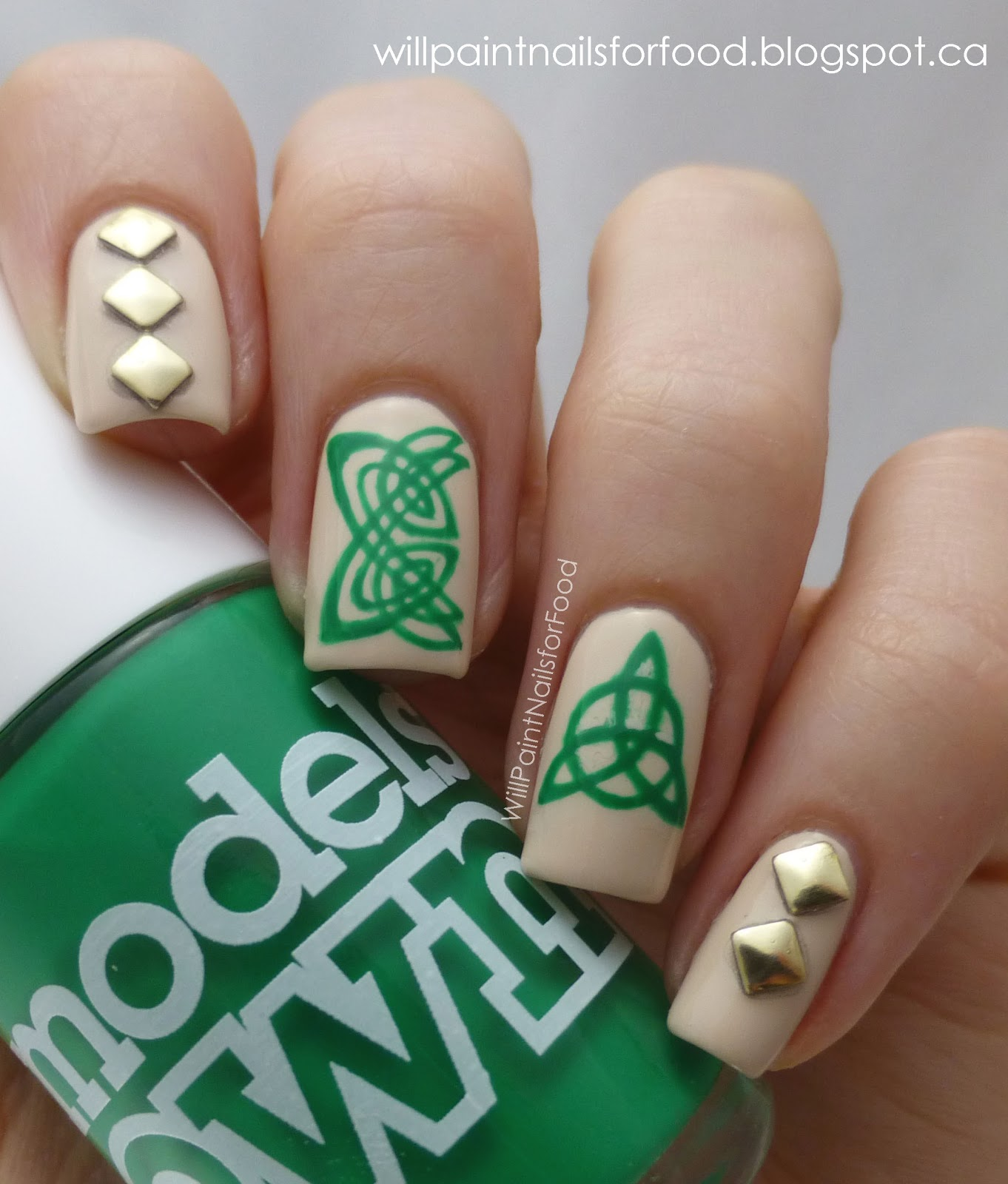 Will Paint Nails for Food: Celtic Knots and Studs!