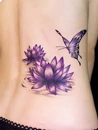 Purple Lotus Flower Tattoo In The Lower Back Design