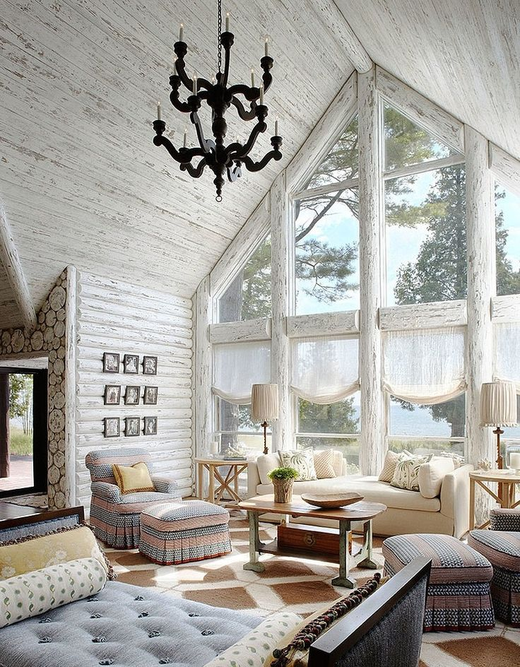 whitewashed rustic cabin