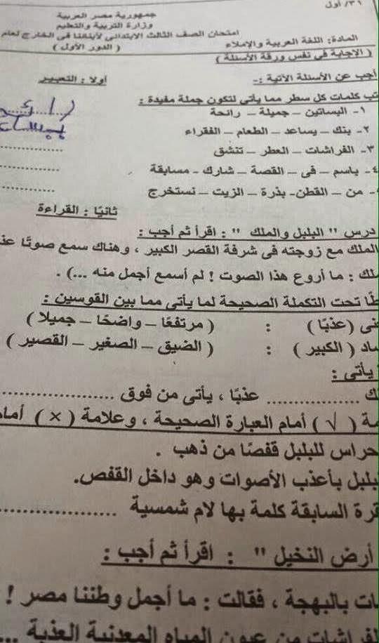 امتحانات ابناؤنا فى الخارج الدور الاول 2015 للصف الثالث الابتدائى السفارة المصرية بالكويت 11127201_911988005511643_5824902379086058910_n