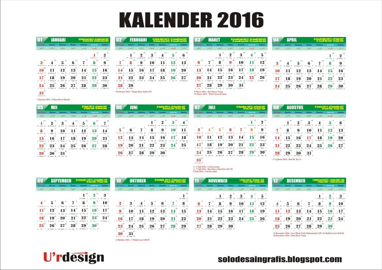 Beserta Liburnya Kalender 2016 Lengkap Beserta Liburnya Kalender ...