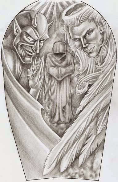 Angel And Daemon Tattoo Design