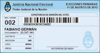Constancia de Voto, Elecciones PASO 2013
