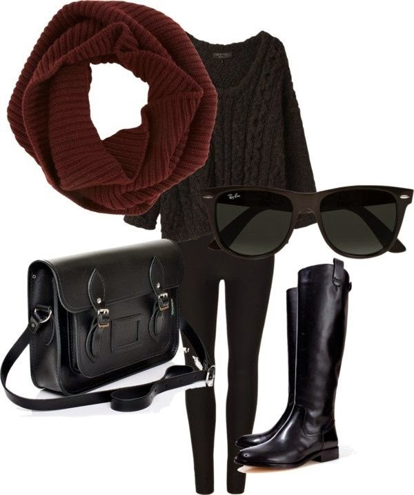 Adorable red scarf, dark sweater, sunglasses, handbag and leggings for fall