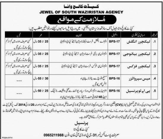 Principal, Lecturer and Secretary Jobs in Jewel of South Waziristan Agency, DI Khan