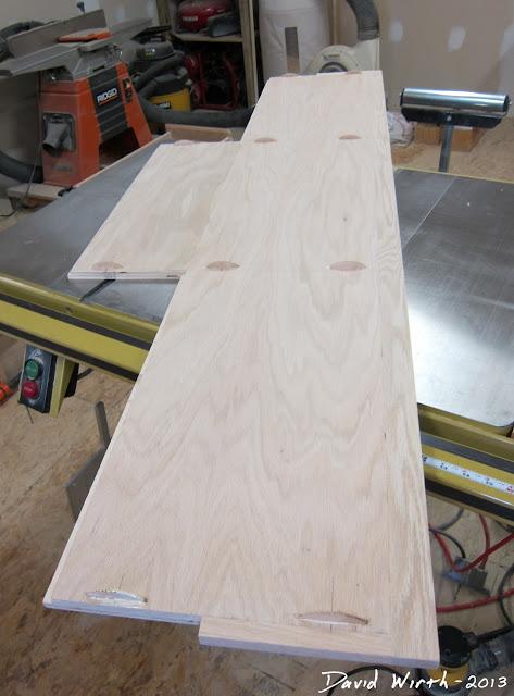 wood biscuits, glue, oak vaneer, tv stand