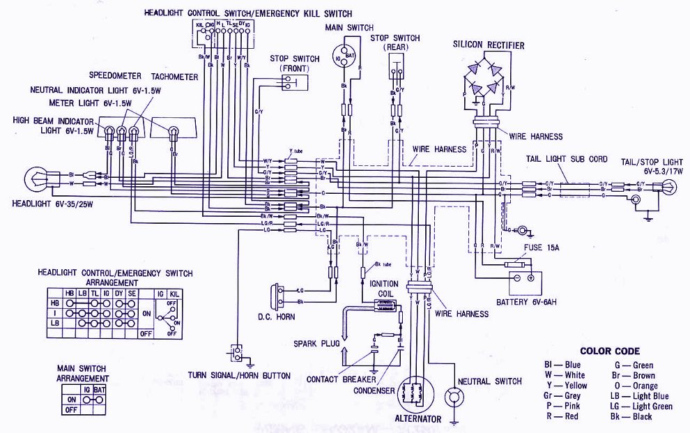 Honda XL100 Electrical Wiring    Diagram      Panel switch wiring