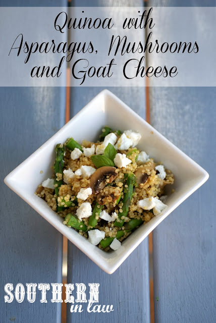Healthy Vegetarian Main - Quinoa with Asparagus, Mushrooms and Goat Cheese Recipe