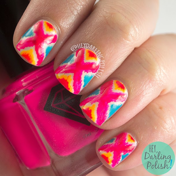 nails, nail art, nail polish, bright, tribal, pattern, hey darling polish, pink, blue, orange, oh mon dieu