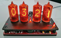 Nixie tube clock, amber red
