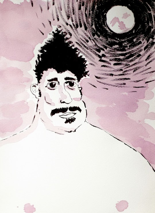 wine painting of a fat man