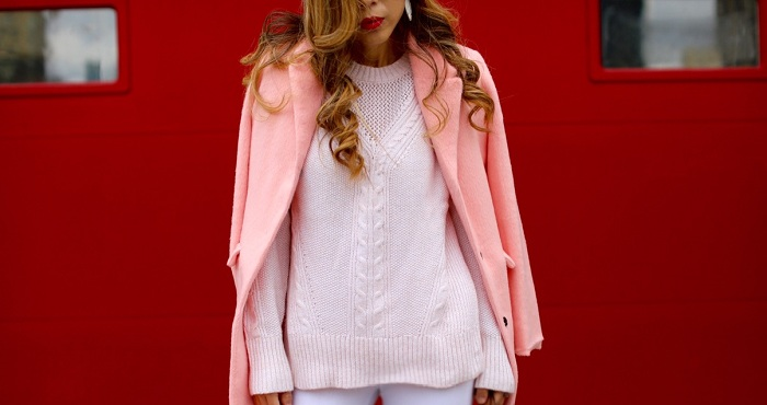 Banana republic pink blush mesh mixed knit pullover, its banana, louis vuitton bag, pink coat, asos Ridley Skinny Ankle Grazer Jeans in White With Rip and Destroy Busts, steve madden gorgeous over the knee boots, kendra sccott earrings, karen walker super duper sunglasses, fashion blog, nyc blogger, winter outfit, winter essentials