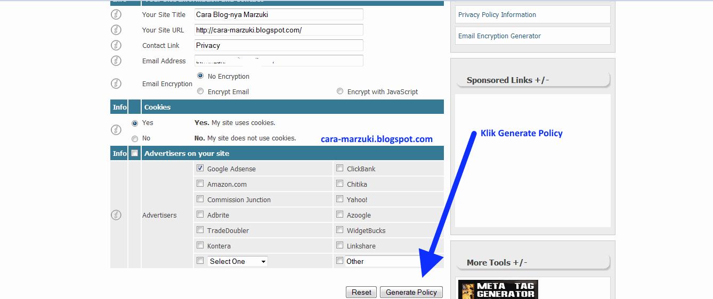 cara mudah membuat halaman privacy policy