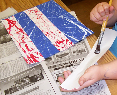"photo of: Creating Quilt Squares in response to ""Red, White and Blue"" picture book"