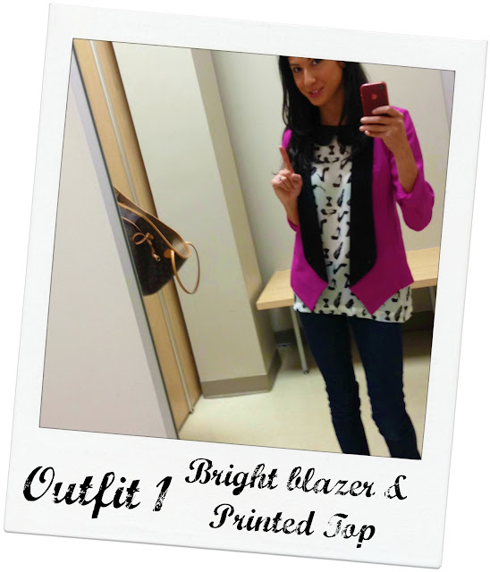 Sears #styleSurprise Kardashian Kollection tuxedo jacket and printed top