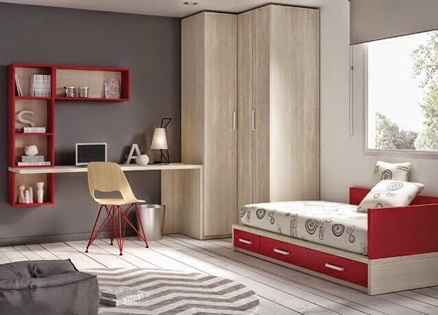 Habitacion de niños en madera y rojo