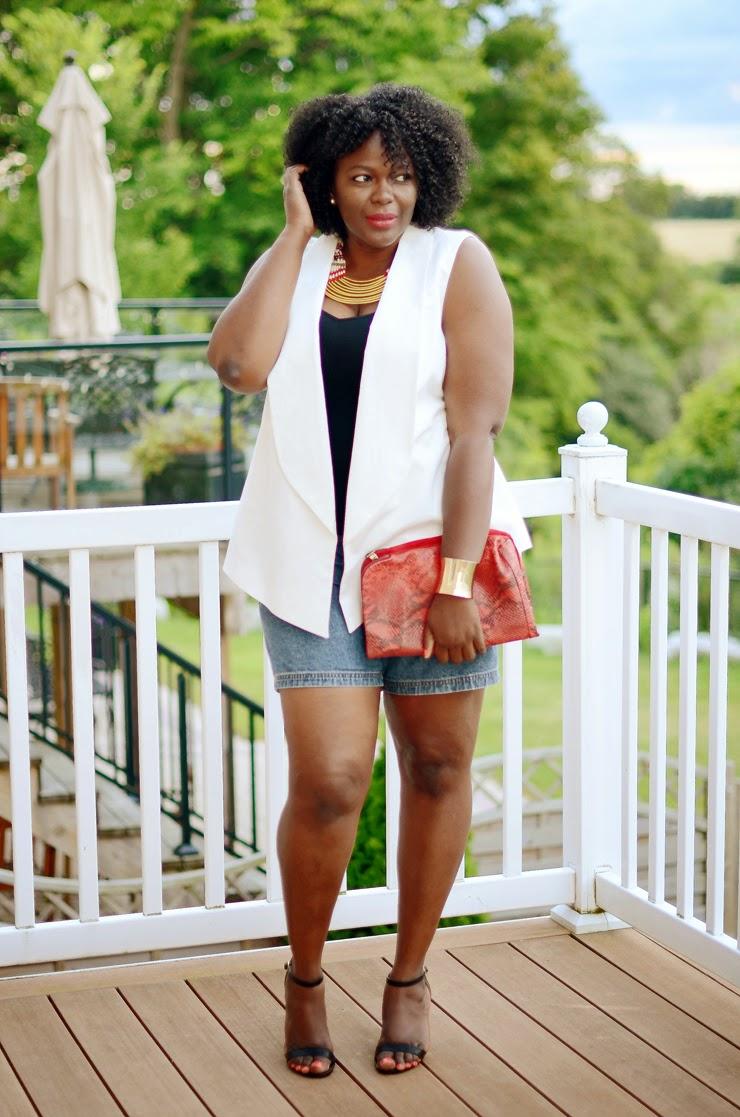 Plus size sleeveless blazer-how to wear