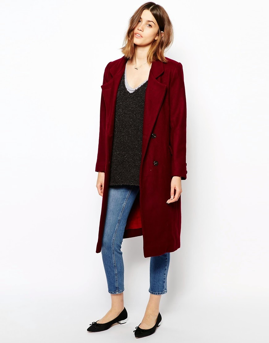 ganni burgundy coat
