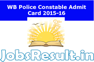 WB Police Constable Admit Card 2015-16