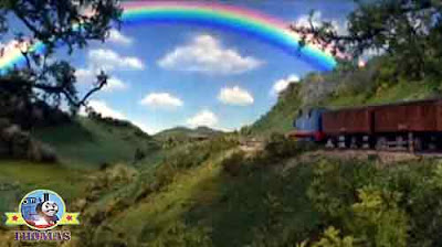 Magical at the end of a bright and beautiful multicolored rainbow in the sky Thomas the tank engine