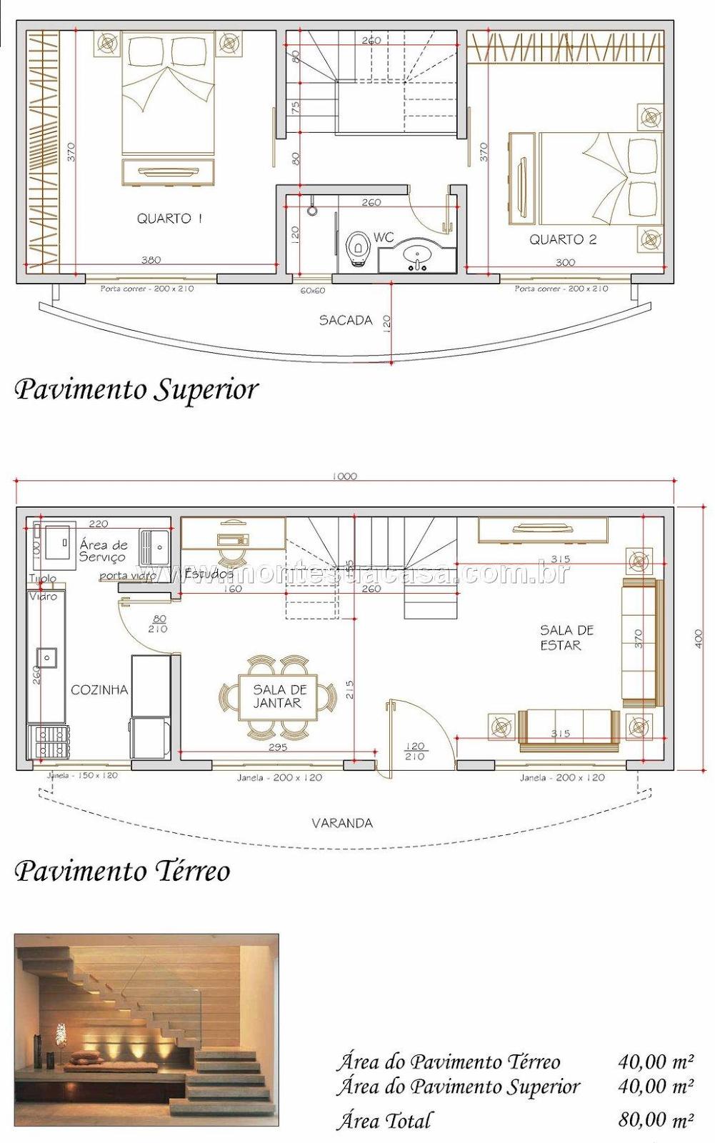 S projetos gr tis projeto de uma casa com 80 metros for Wohnlandschaft 2 80 m