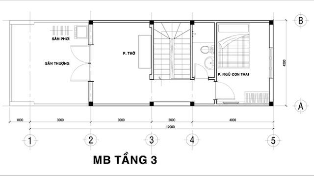 Thiết kế mặt bằng tầng 3