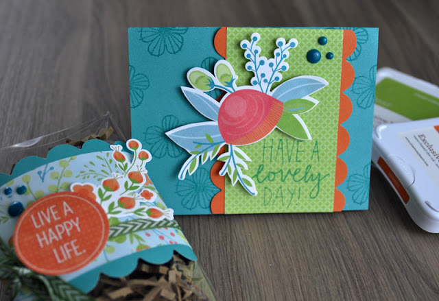 Close to My Heart stamped card and coordinating gift box created by Jen Gallacher for Scrapbook and Cards Today Magazine (includes how-to- video).