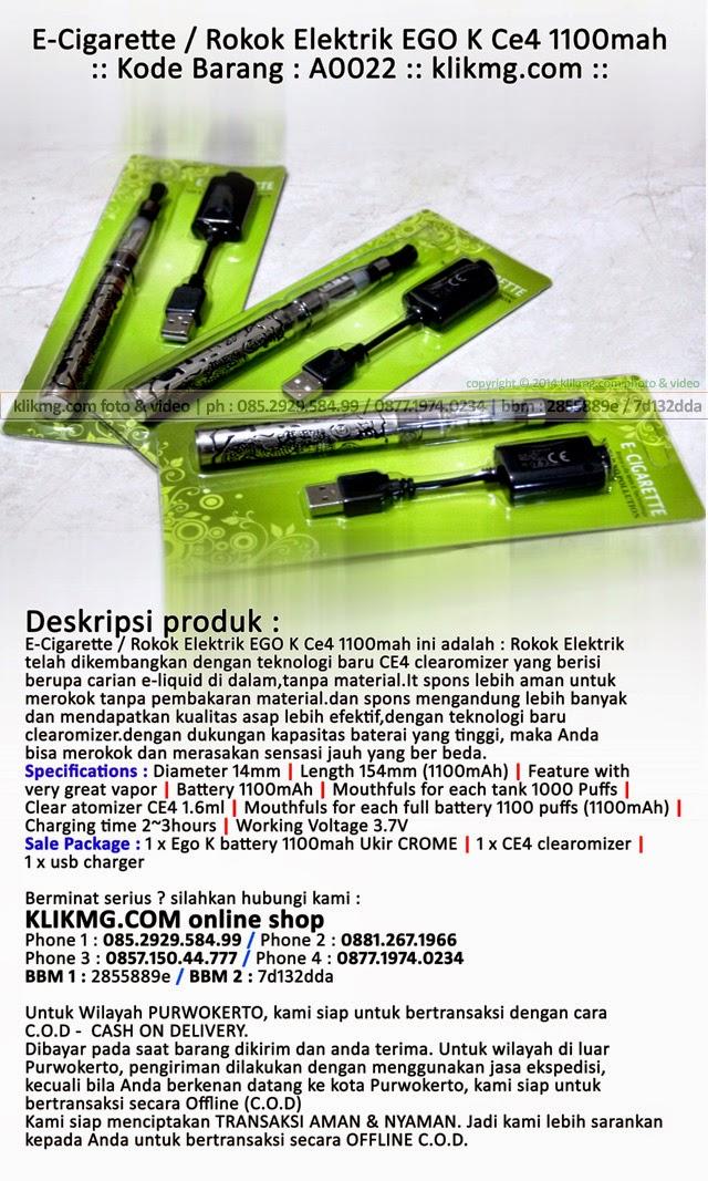 E-Cigarette / Rokok Elektrik EGO K Ce4 1100mah - Kode Barang : A0022 ( Untuk Merokok yang Sehat tanpa GAMBAR-GAMBAR Seram dibungkus rokoknya )