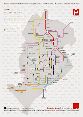 Mapa do metrô de Belo Horizonte