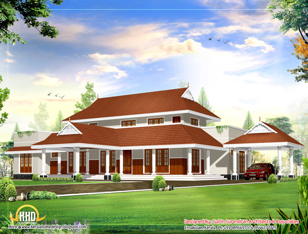 Beautiful sloping roof house design plan 2983 sq ft indian house plans - Attic house plans ...