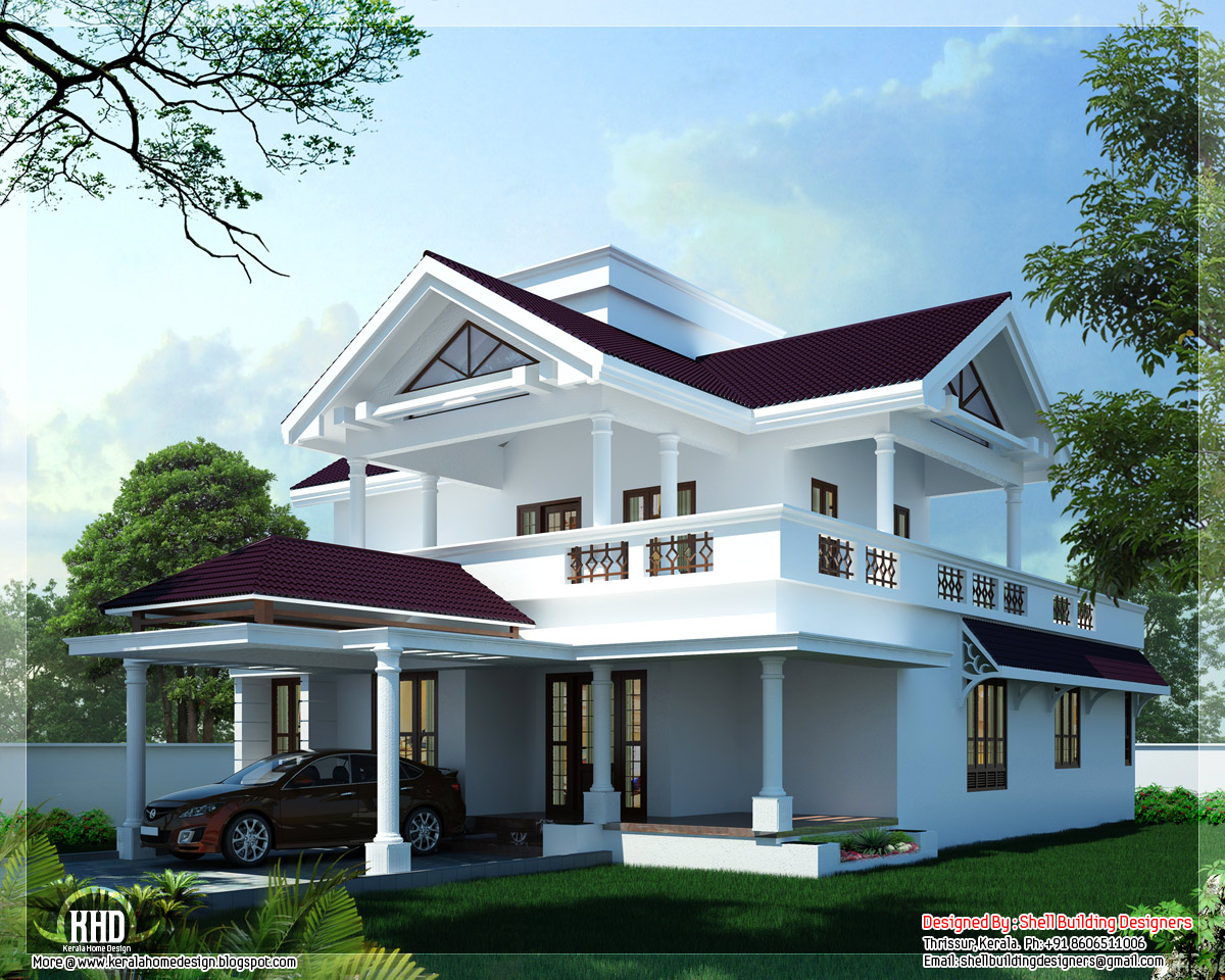2600 Modern Sloping Roof Home Design Kerala Home