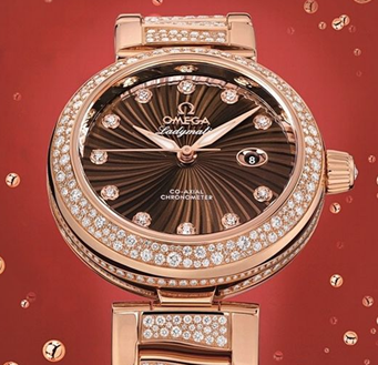 black and red-gold omega deville ladymatic wristwatch with diamonds watch