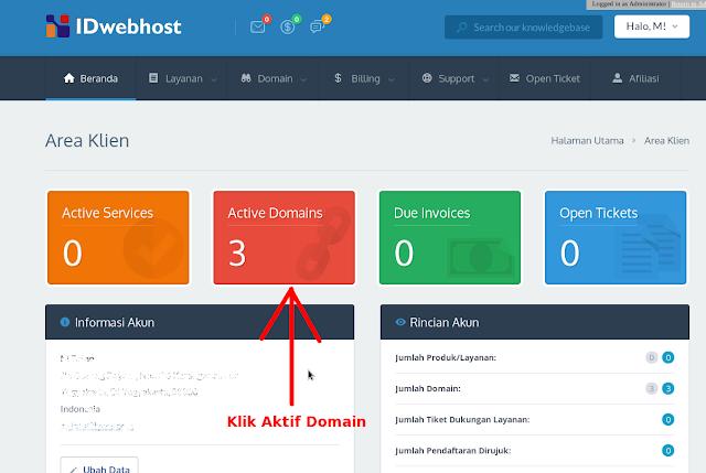 6. Setelah masuk member area, klik pada 'Active Domain'.