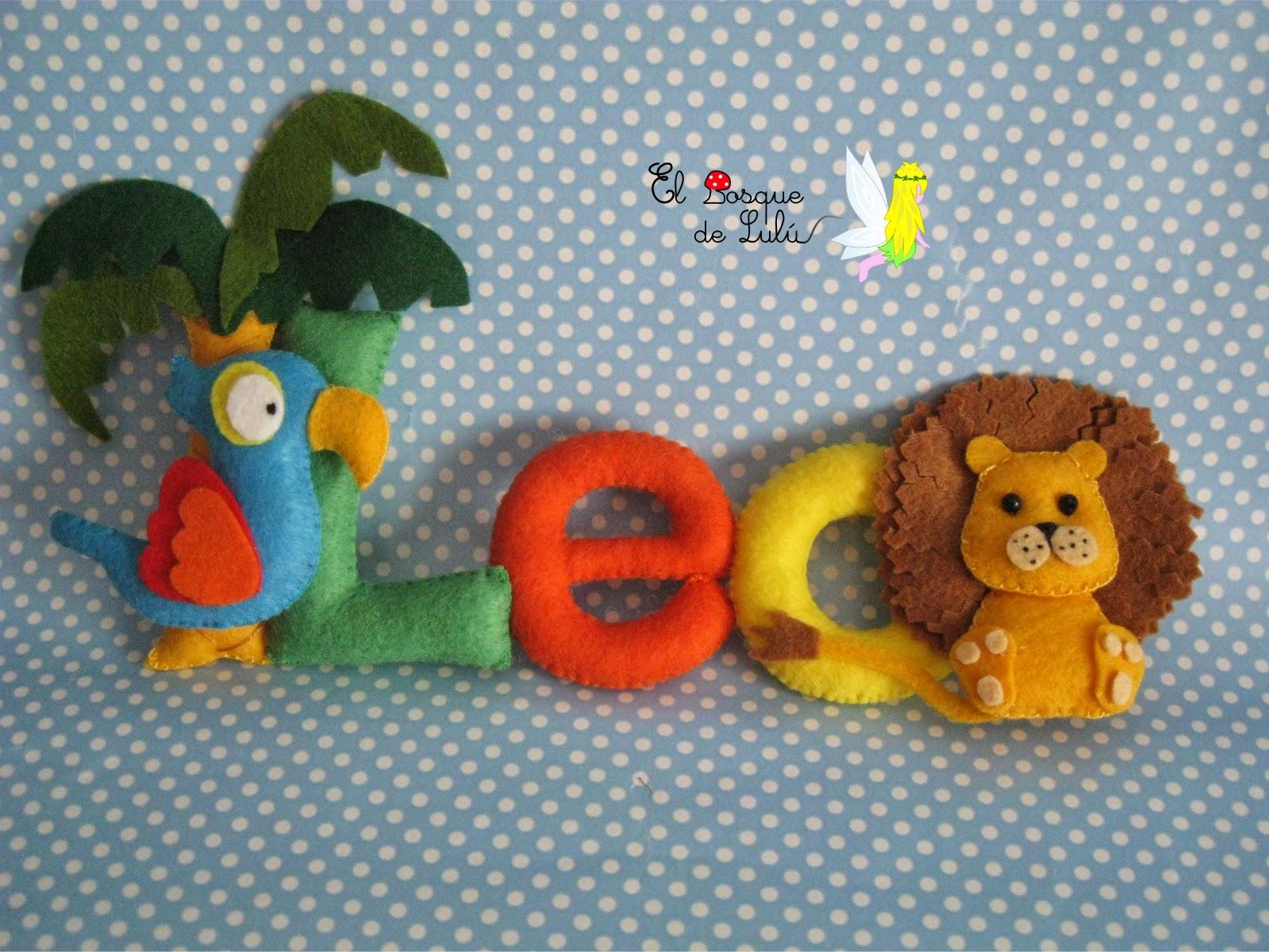 nombre-decorativo-fieltro-animales-selva-leo-leon-loro-regalo-nacimiento