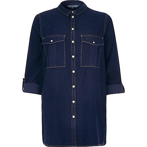 river island denim shirt, dark wash denim shirt, indigo denim shirt,