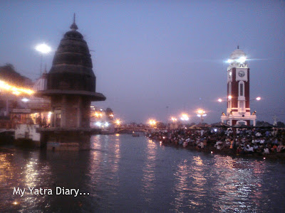 The Har Ki Pauri Ghat in Haridwar just before the Evening Ganga Arti