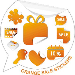 ORANGE SALE STICKERS VECTOR
