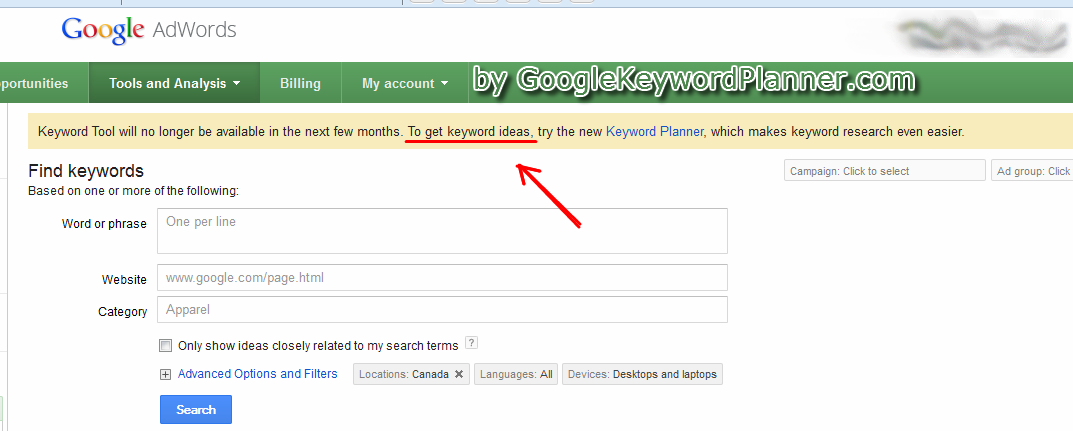 The brand new google keyword tool replacement for research and planning