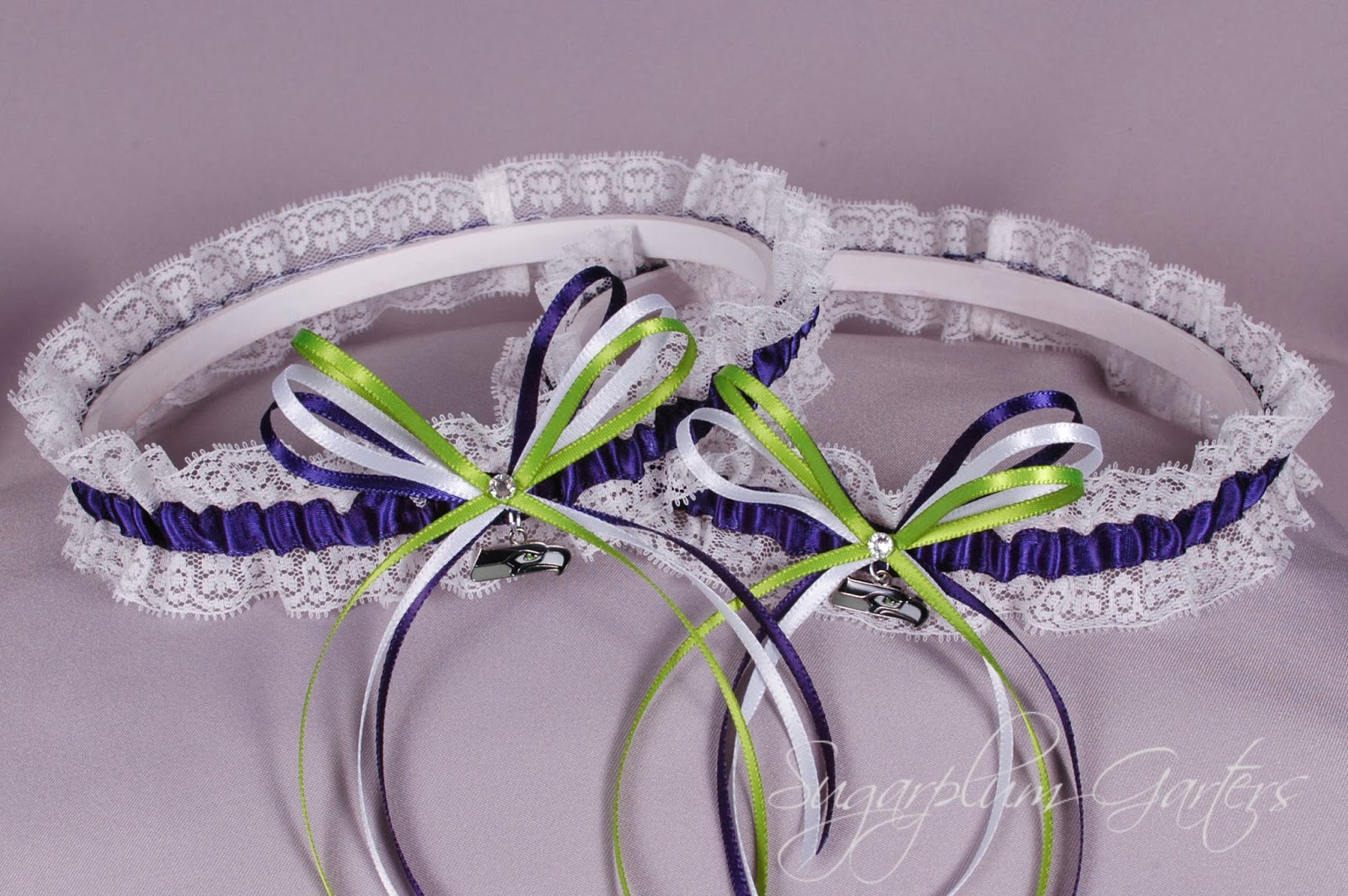 Seattle Seahawks Lace Garter Set by Sugarplum Garters
