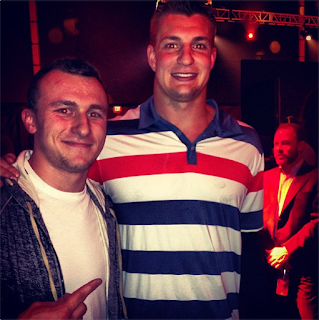 Johnny Manziel meets Ron Gronkowski? Johnny Manziel meets Ron Gronkowski.