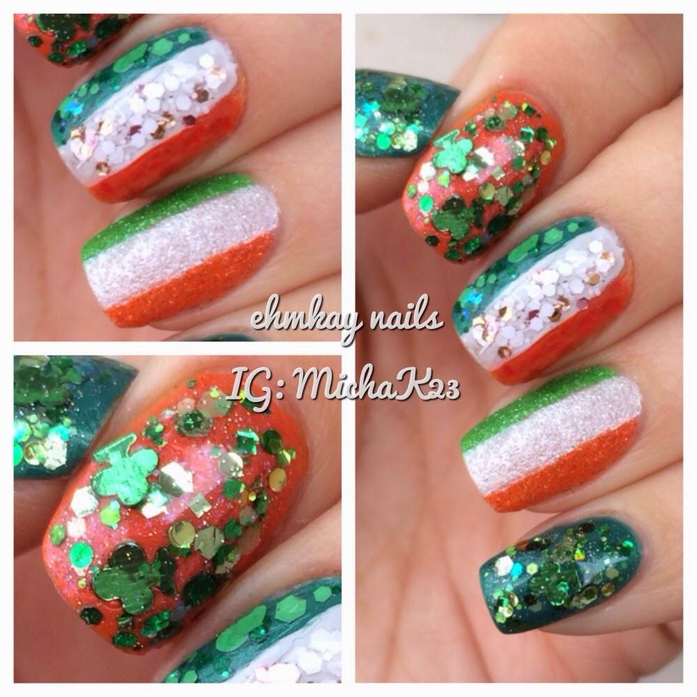 ehmkay nails: Happy St. Patrick\'s Day Nails! Ireland Flag and ...