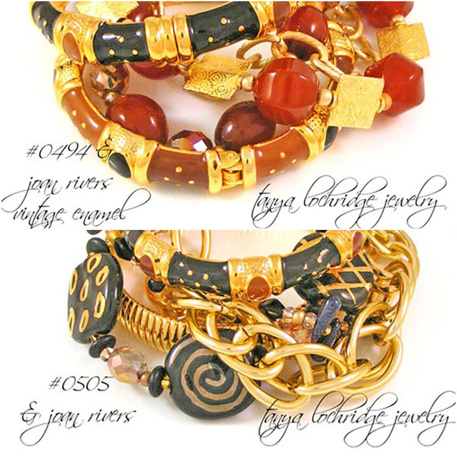 Tanya Lochridge Jewelry Agate, jasper, avenutine, quartz and Kazuri Bracelets
