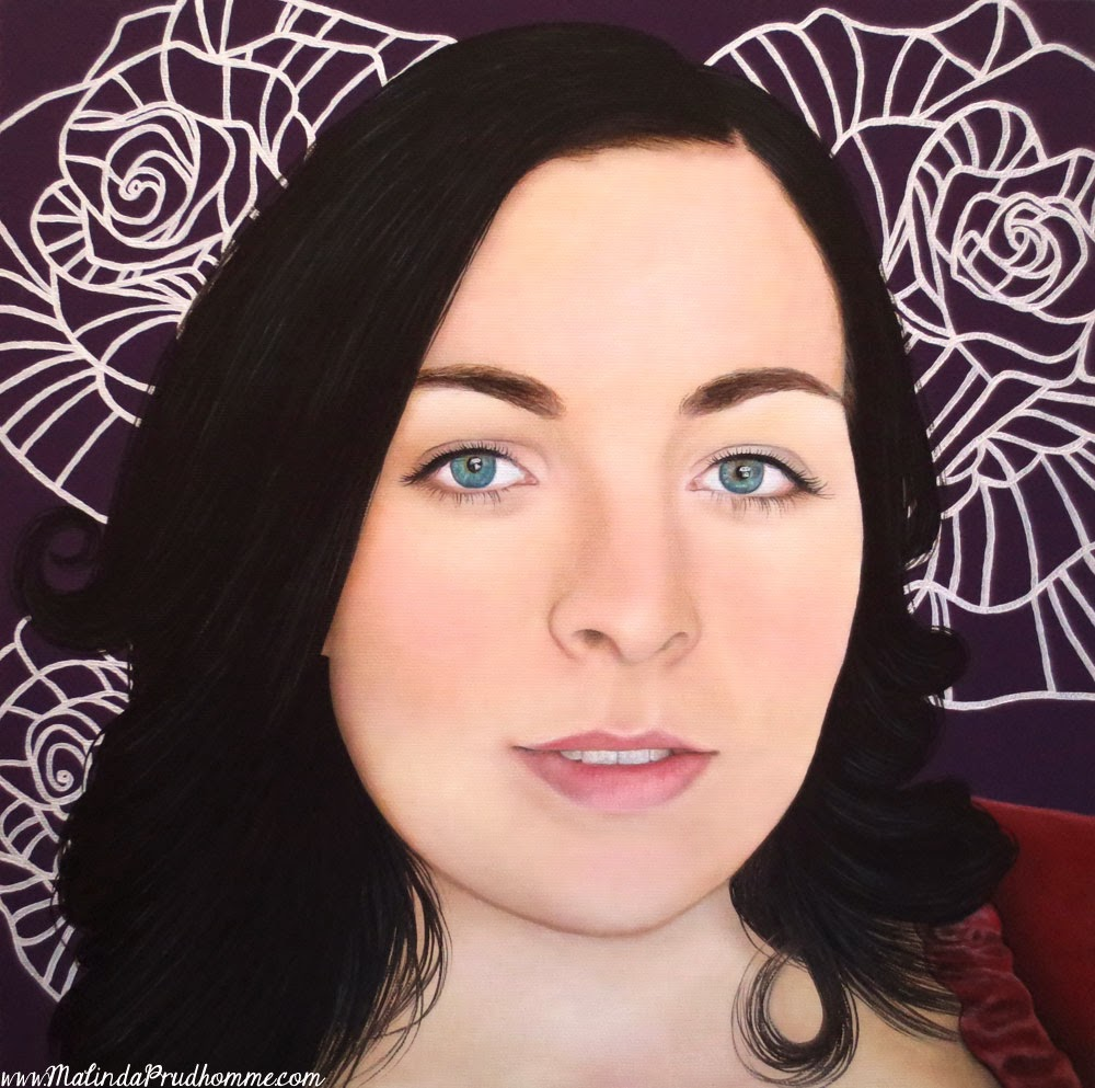 Purple art, flower art, irish beauty, beauty art, true beauty, malinda prudhomme, portrait art, toronto portrait artist, realism, portrait painting, canadian artist, realistic portraiture