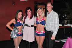 Karson and Kennedy, our Date Auction hosts, with the Pats Cheerleaders